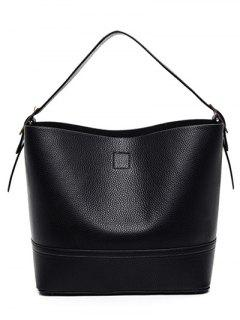 PU Leather Buckle Solid Colour Tote Bag - Black
