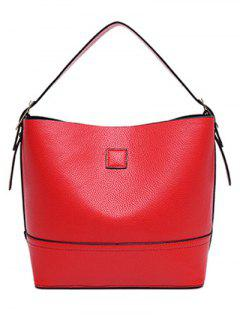 PU Leather Buckle Solid Colour Tote Bag - Red