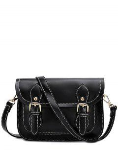 Double Buckles Stitching PU Leather Crossbody Bag - Black