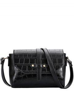 Crocodile Pattern PU Leather Crossbody Bag - Black
