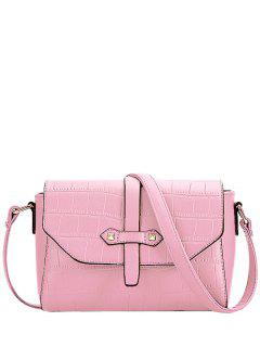 Crocodile Pattern PU Leather Crossbody Bag - Pink
