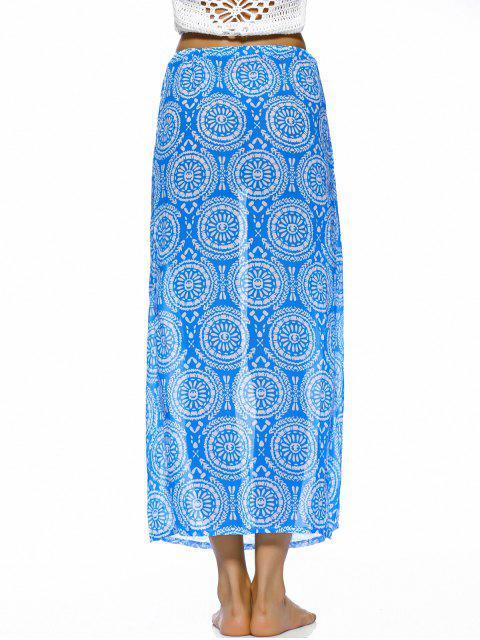 online Double Slit Flowy Bohemian Skirt - BLUE M Mobile