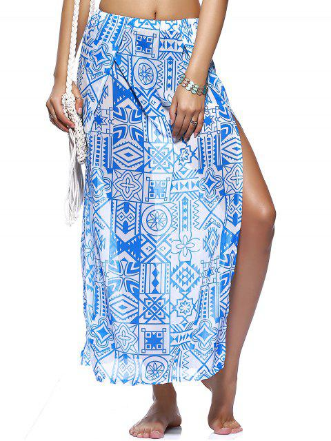 outfits Chiffon Flowy Slit Skirt - BLUE M Mobile