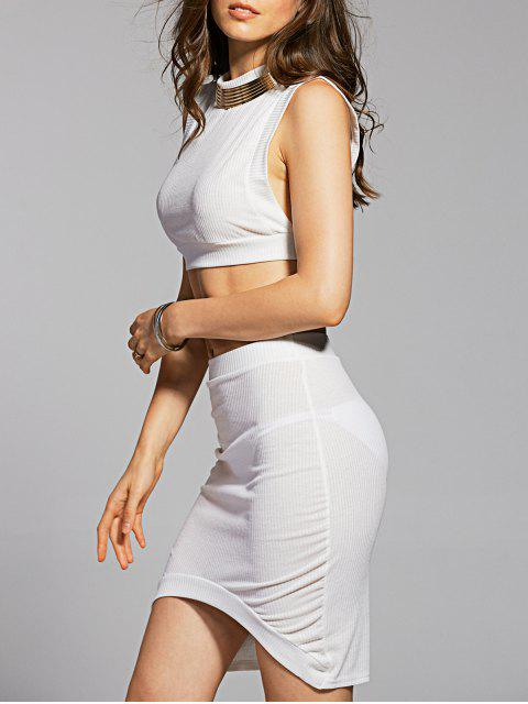 latest Fitted Crop Top and Skirt - WHITE M Mobile