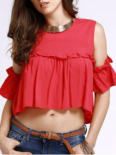 ladies Frilled Pure Color Top - RED M Mobile