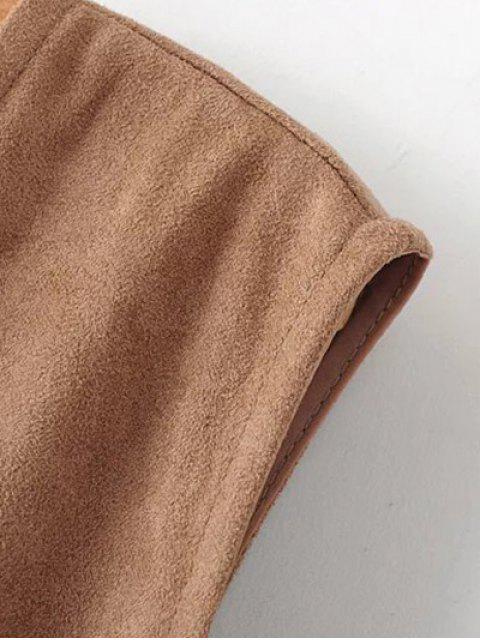 shops Fringed Short Suede Waistcoat - BLACK S Mobile