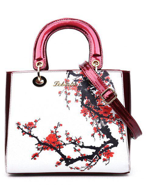 Fleur Imprimé PU cuir sac fourre-tout - Rouge et Blanc  Mobile