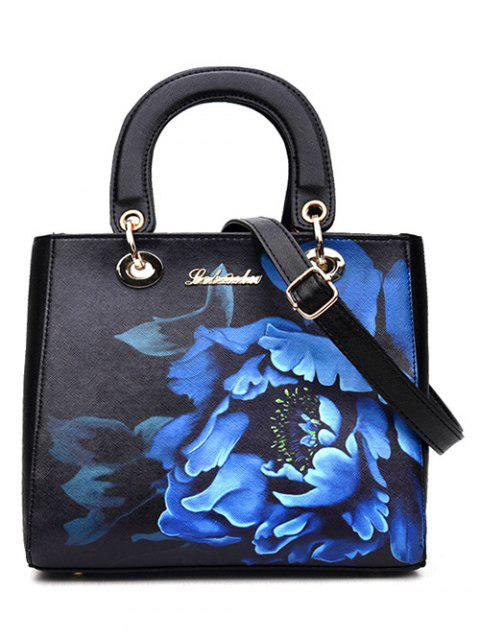lady Flower Printed PU Leather Tote Bag - BLACK  Mobile