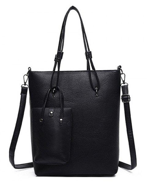 trendy Metallic Solid Color Shoulder Bag - BLACK  Mobile