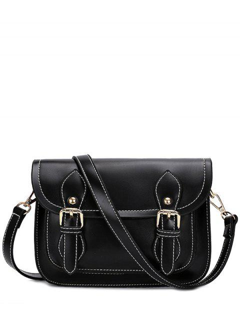 womens Double Buckles Stitching PU Leather Crossbody Bag - BLACK  Mobile