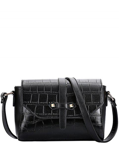 women's Crocodile Pattern PU Leather Crossbody Bag - BLACK  Mobile