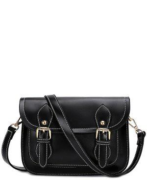 Double Buckles Stitching PU Leather Crossbody Bag