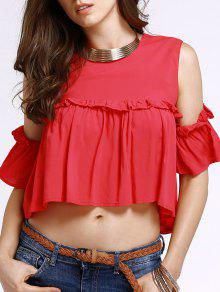 Frilled Pure Color Top - Red S