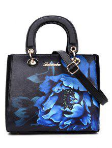 حقيبة توتس طباعة الأزهار وجلد اصطناعي نسائية - أسود