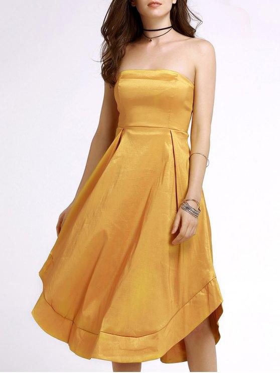 Amarelo Strapless A Linha de Vestido de Midi - Amarelo S