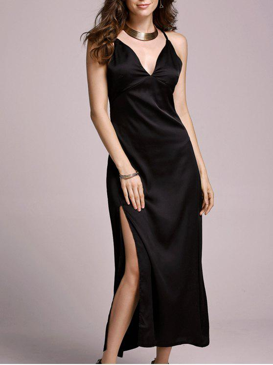latest High Slit Spaghetti Straps Solid Color Dress - BLACK M