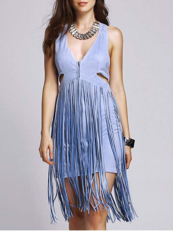 affordable Blue Tassels Plunging Neck Sleeveless Dress - BLUE M
