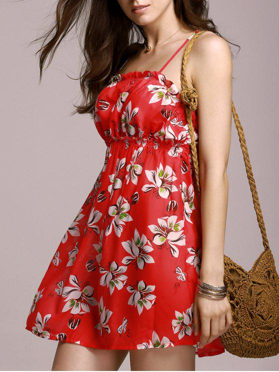 shop Full Tiny Floral Cami Dress - RED L