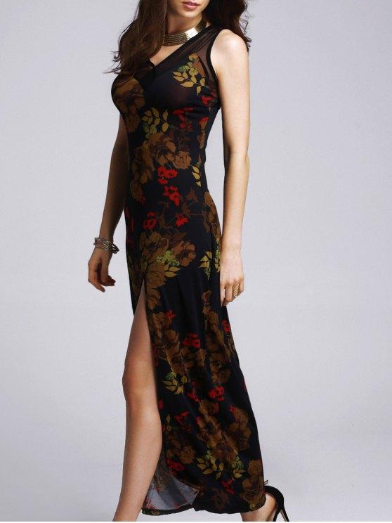 Impreso de alta de hendidura vestido de fiesta - Negro L