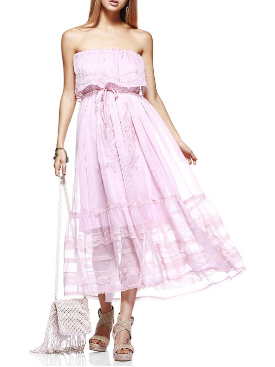 Stickerei Strapless Abendkleid - Pink M