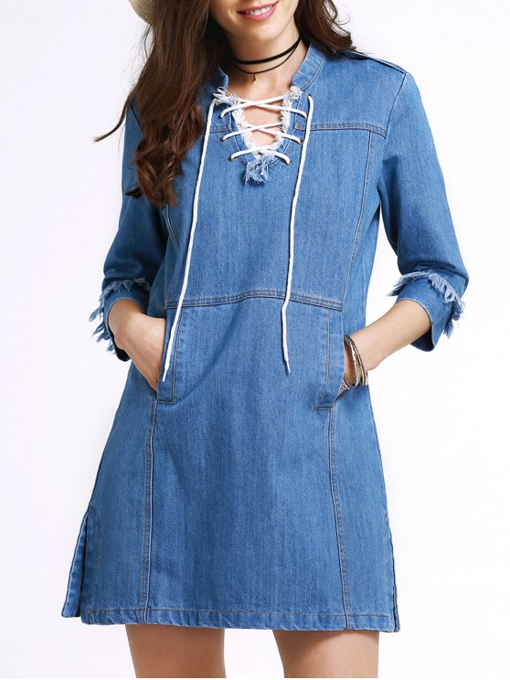 shops Retro Lace-Up Stand Neck 3/4 Sleeve Dress - BLUE M