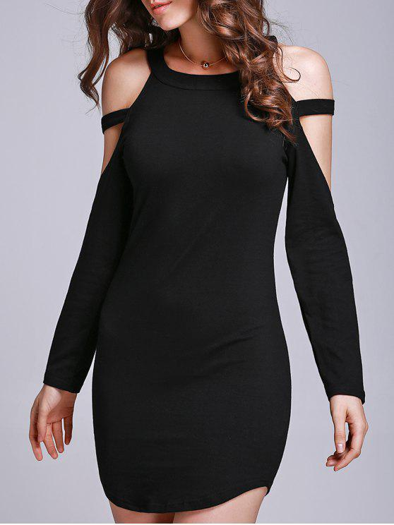 latest Black Hollow Round Collar Long Sleeve Dress - BLACK L
