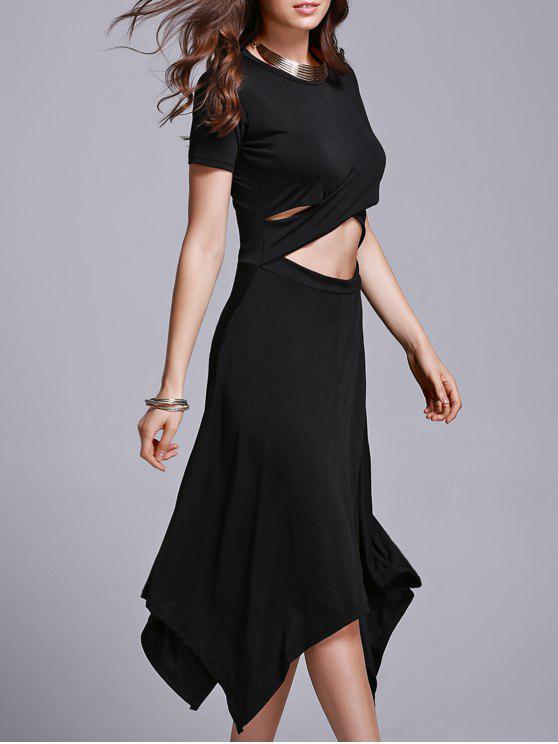 affordable Cut Out Irregular Jewel Neck Short Sleeve Dress - BLACK XL