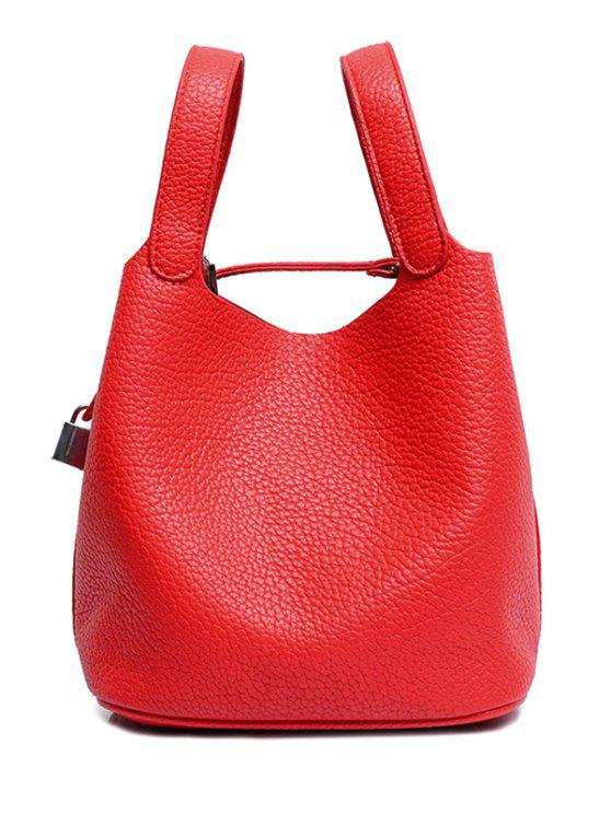 sale Lock Solid Color PU Leather Tote Bag - RED