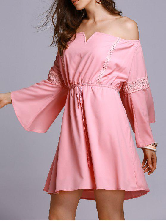 lady Lace Insert Off The Shoulder A Line Dress - PINK S
