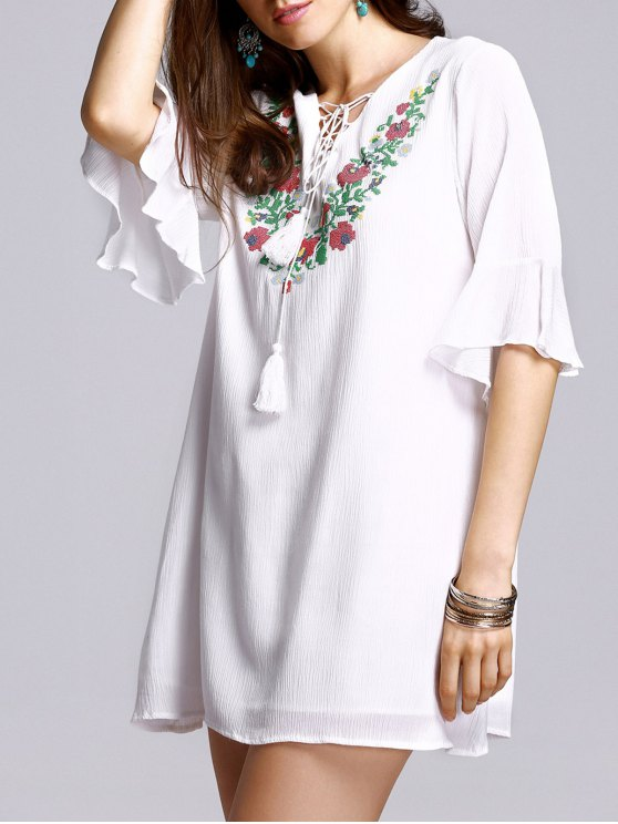 fashion Lace-Up Embroidery V Neck Flare Sleeve Blouse - WHITE M