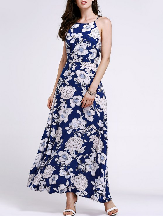 Figura para recortar Floral Imprimir Jewel Neck vestido sem mangas - Azul Arroxeado L