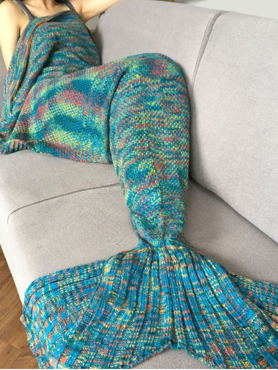 ladies Knitted Super Soft Mermaid Tail Blanket - BLUE