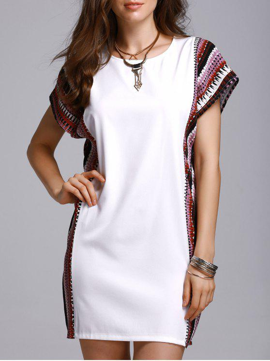 buy Printed Loose Round Neck Bat-Wing Sleeve Dress - WHITE 4XL
