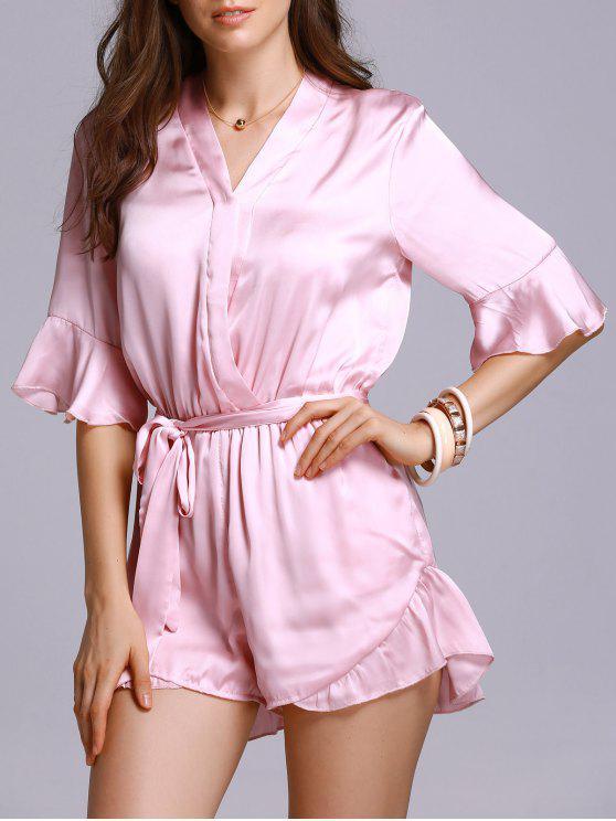women's Satin V-Neck Flare Sleeve Belted Romper - PINK L