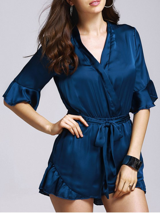 best Satin V-Neck Flare Sleeve Belted Romper - BLACKISH GREEN M