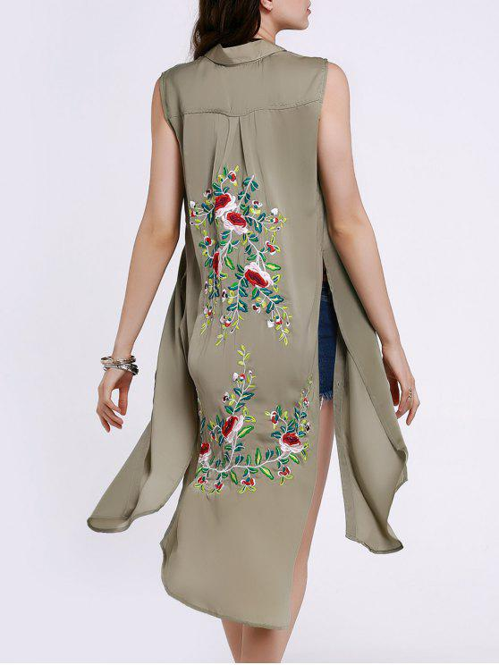 buy High Slit Sleeveless Floral Embroidery Shirt Dress - PEA GREEN M