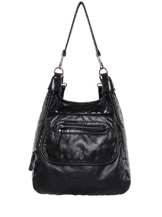 womens Zip PU Leather Solid Color Shoulder Bag - BLACK