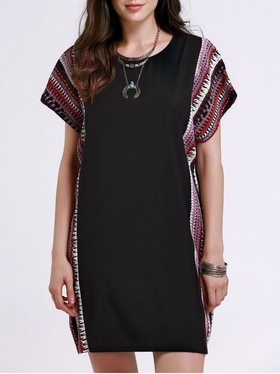 online Printed Loose Round Neck Bat-Wing Sleeve Dress - BLACK 2XL