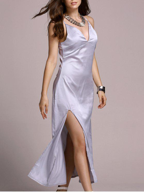 Robe couleur haute Slit bretelles spaghetti solide - Blanc Argent XL