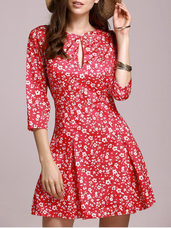 best Tiny Floral Keyhole Neckline Dress - RED S