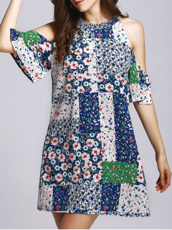 fashion Tiny Floral Round Neck Cut Out Dress - COLORMIX M