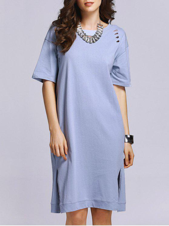 online Broken-Hole Side Slit Round Neck Short Sleeve Dress - LIGHT BLUE 4XL