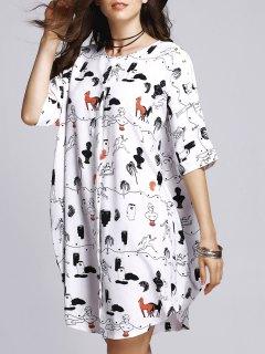 Horse Print Round Neck Half Sleeve Dress - M