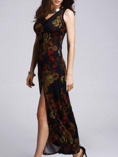 High Slit Printed Prom Dress - Black M
