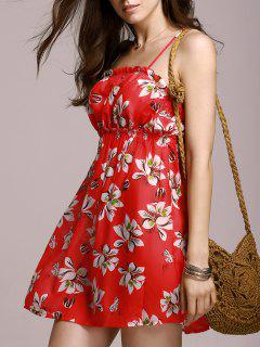 Full Tiny Floral Cami Dress - Red L