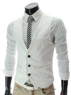 V-Neck Single Breasted Edging Solid Color Sleeveless Waistcoat For Men - White Xl