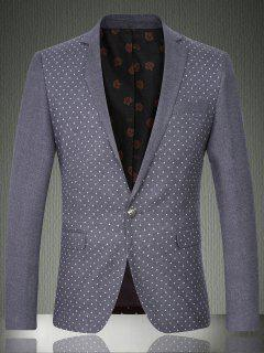 Lapel Printed Long Sleeve One Button Design Blazer For Men - Gray M