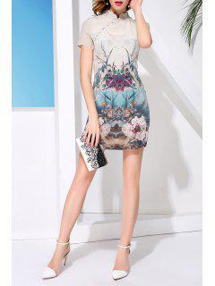 Mandarin Collar Flower Pattern Dress - Warm White Light S