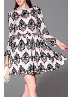 Slimming Patterned Dress - Pink L