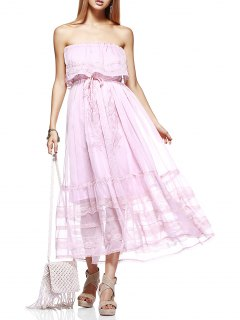 Embroidery Strapless Prom Dress - Light Pink M